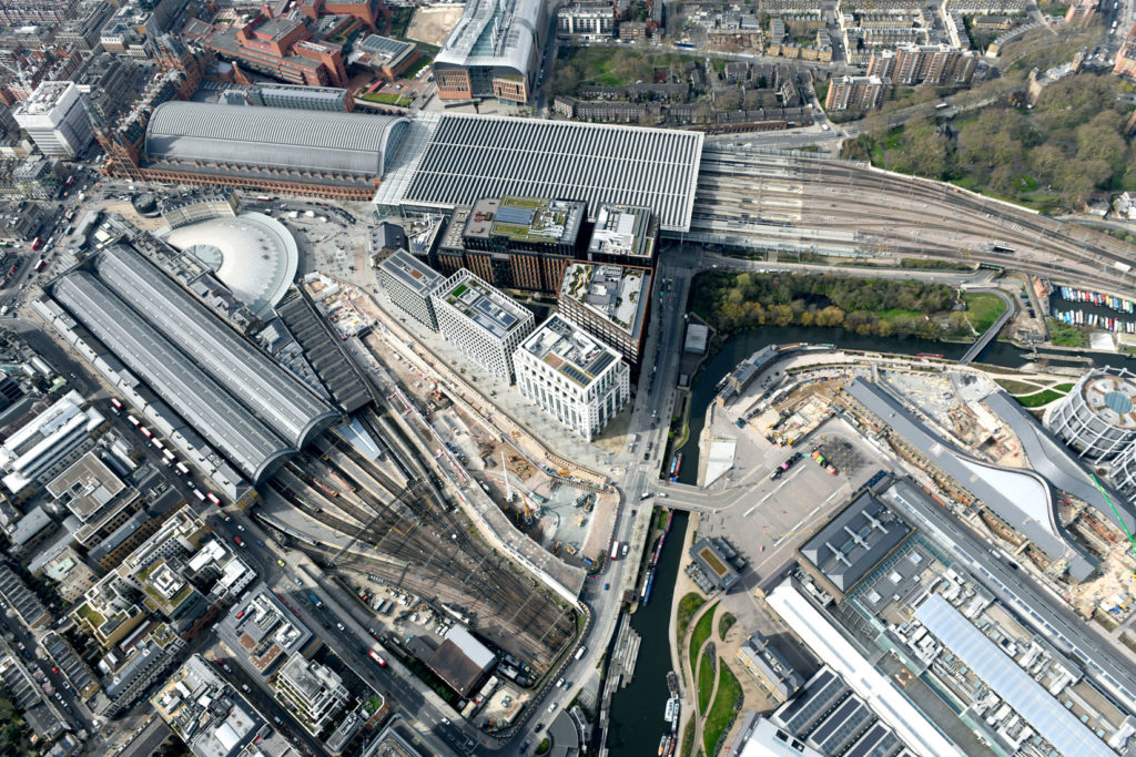 Aerial view of King's Cross Station.
